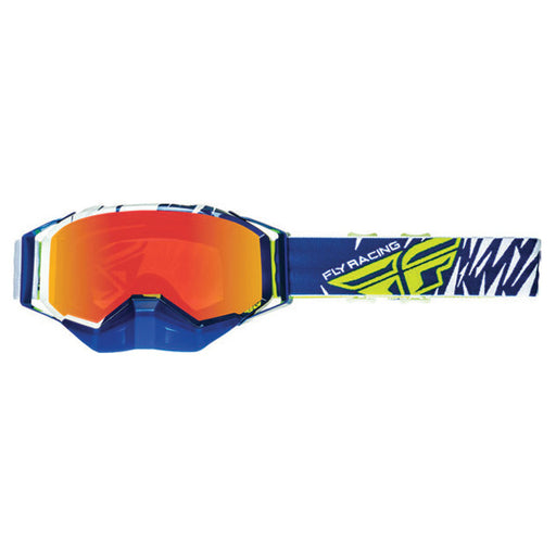 FLY RACING ZONE SNOW GOGGLE WHITE/BLUE WITH MIRRORED LENS