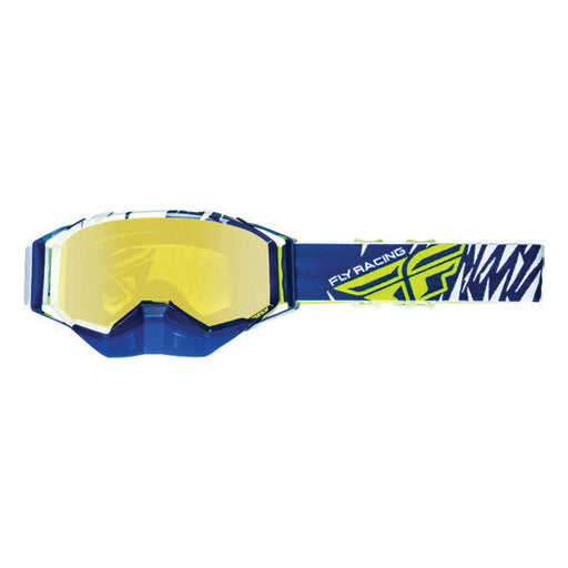FLY RACING PRO SNOW GOGGLE WHITE/BLACK WITH YELLOW POLARIZED LENS