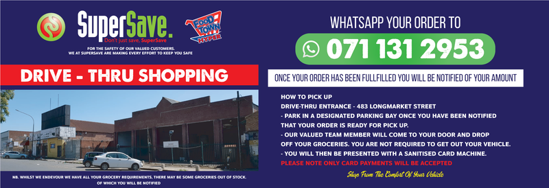 Supersave whatsapp pick up deliveries website banner
