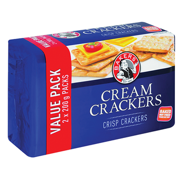 Bakers Cream Crackers Value Pack 2x200g