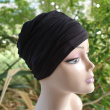Load image into Gallery viewer, Bamboo Ruffle Cap in Black - Wigsisters
