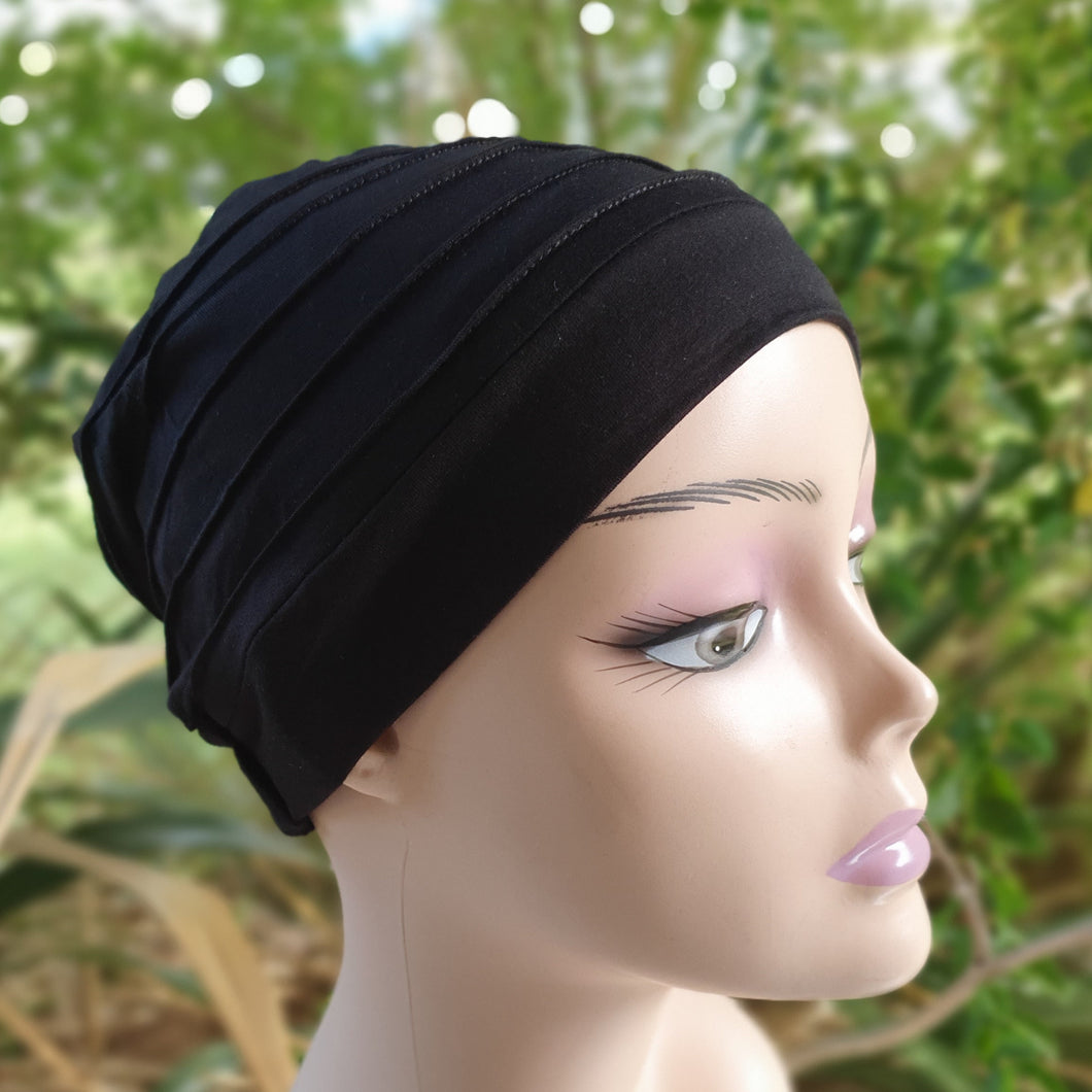 Bamboo Pleated Cap in Black - Wigsisters