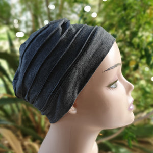 Bamboo Pleated Cap in Charcoal - Wigsisters