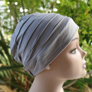 Bamboo Pleated Cap in Smoke Grey - Wigsisters