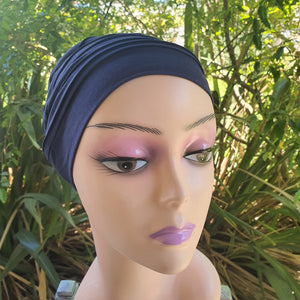 Bamboo Pleated Cap in Navy - Wigsisters