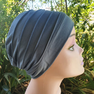 Bamboo Pleated Cap in Viridian Green - Wigsisters