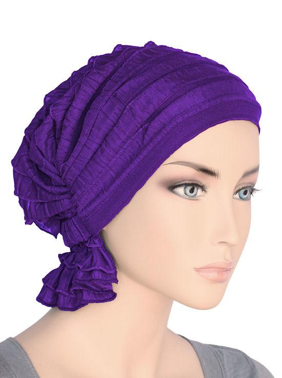 Abbey Cap in Ruffle Purple - Wigsisters