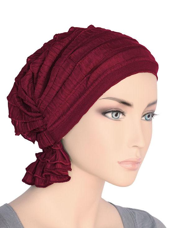 Abbey Cap in Ruffle Crimson Red - Wigsisters