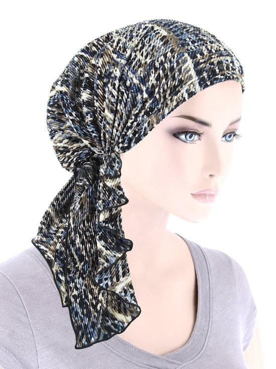 Bella Scarf in Plisse Blue Beige Abstract - Wigsisters