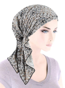 Bella Scarf in Gray Beige Medallion - Wigsisters