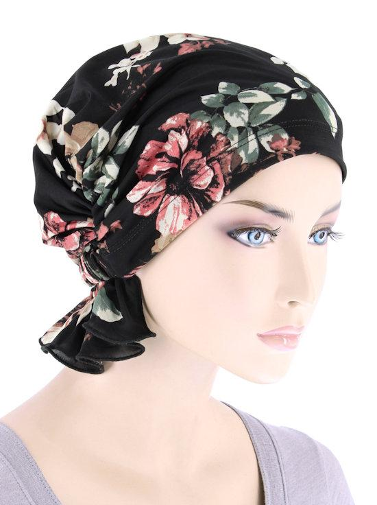 Abbey Cap in Black Pink Floral - Wigsisters