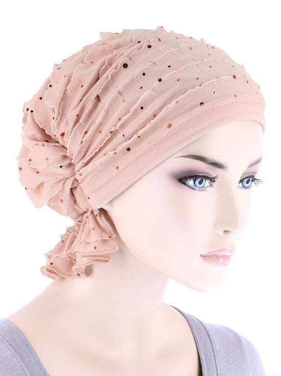 Abbey Cap in Ruffle Blush Pink Sequin - Wigsisters