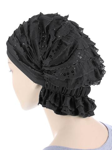 Abbey Cap in Ruffle Black Sequin - Wigsisters