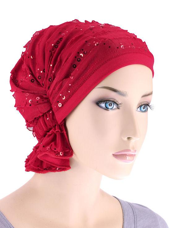 Abbey Cap in Red Sequin Ruffle - Wigsisters