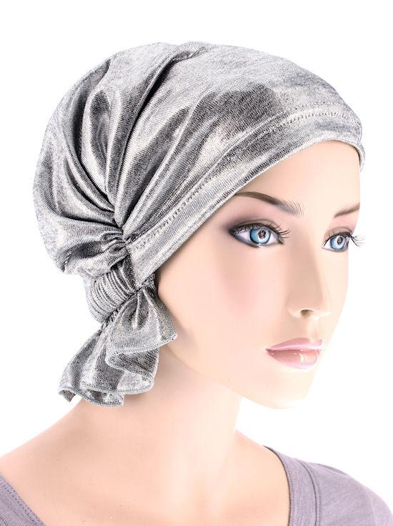Abbey Cap in Silver Metallic Heather Knit - Wigsisters