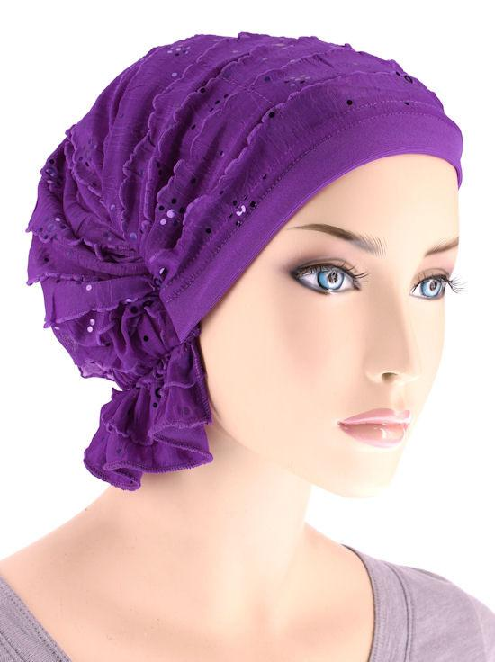 Abbey Cap in Ruffle Purple Sequin - Wigsisters
