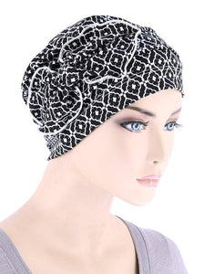 Cloche with Bow in Black and White Medallion - Wigsisters