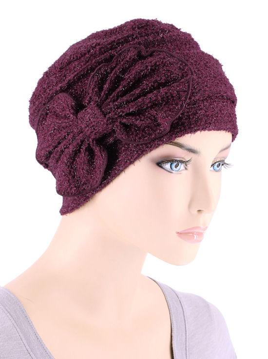 Cloche with Bow in Mulberry Red - Wigsisters