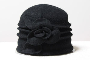 Woollen Cloche with Flower - Black - Wigsisters