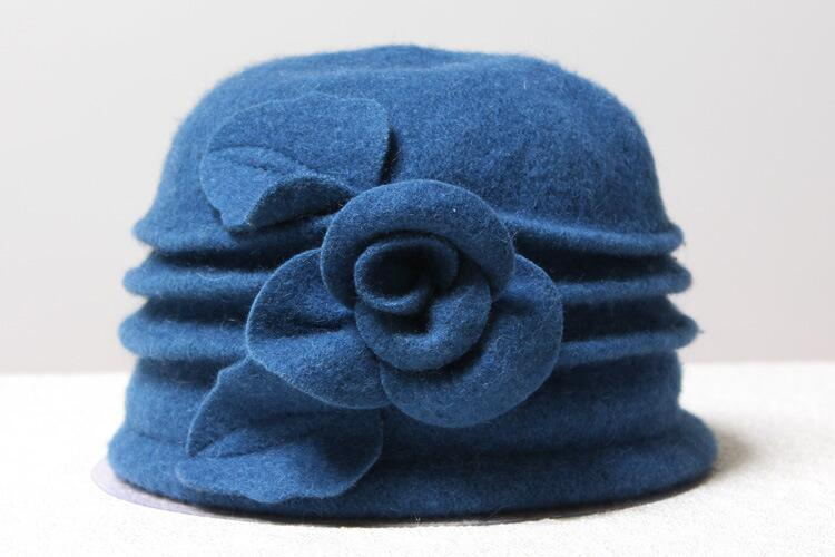 Woollen Cloche with Flower - Blue - Wigsisters
