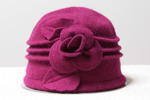Woollen Cloche with Flower - Fuschia - Wigsisters