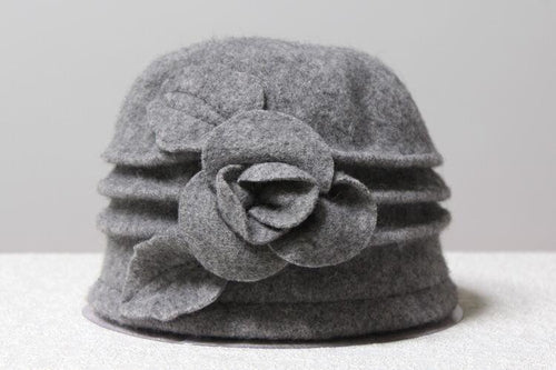 Woollen Cloche with Flower - Grey - Wigsisters