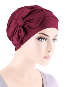 Bamboo Cloche with Bow in Burgundy - Wigsisters
