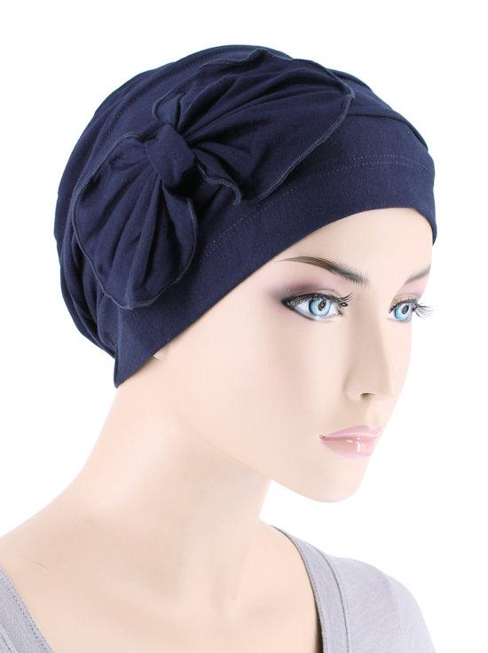 Bamboo Cloche with Bow in Navy - Wigsisters