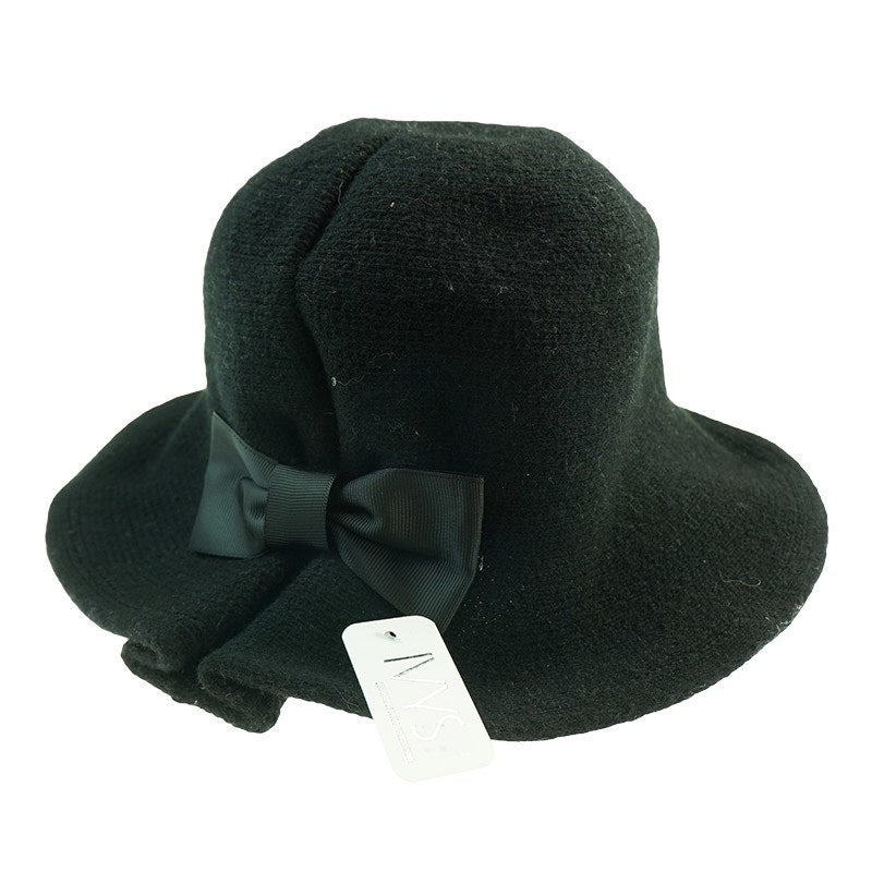 Winter Hat with Bow - Black on Black - Wigsisters