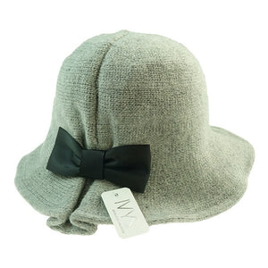Winter Hat with Bow - Black on Grey - Wigsisters