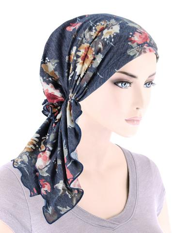 Bella Scarf in Denim Pink Floral - Wigsisters
