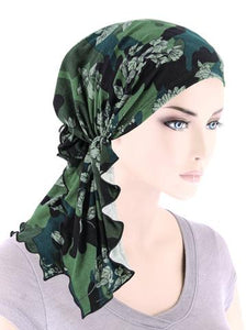 Bella Scarf in Olive Camo Floral - Wigsisters