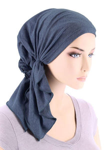 Bella Scarf in Dark Denim - Wigsisters
