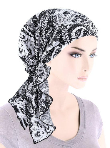 Bella Scarf in Plisse Black and White Paisley - Wigsisters