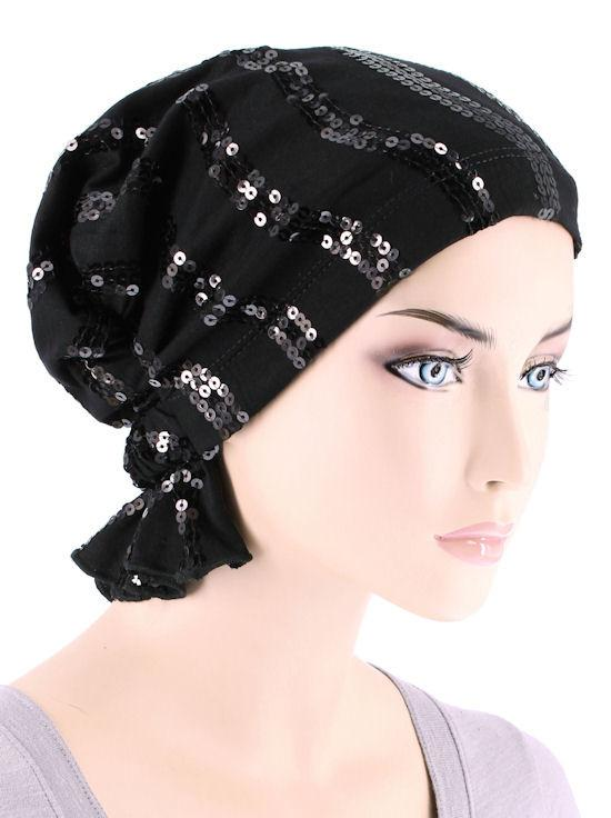 Abbey Cap in Black Wave Sequin - Wigsisters