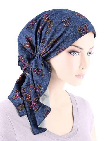Bella Scarf in Denim Swirl Floral Multi - Wigsisters