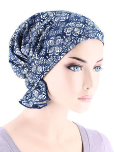 Abbey Cap in Medallion Blue - Wigsisters