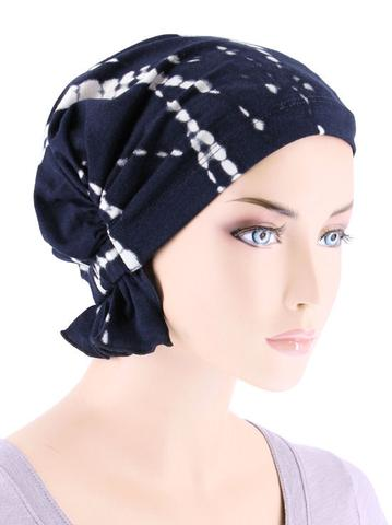 Abbey Cap in Tye Dye Navy - Wigsisters