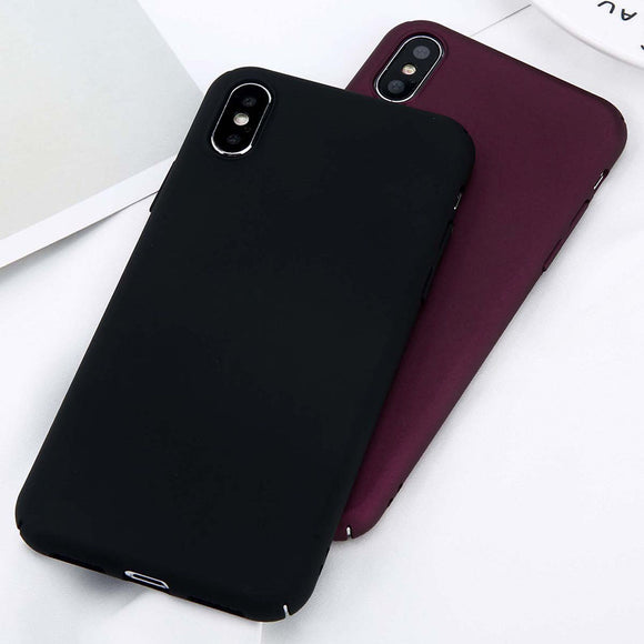 Case or iPhone X Xs Max XR 8 7 Simple Plain Phone Case Slim Frosted Hard PC Back Cover For iPhone 8 7 6 6S Plus 5 5S SE Cases
