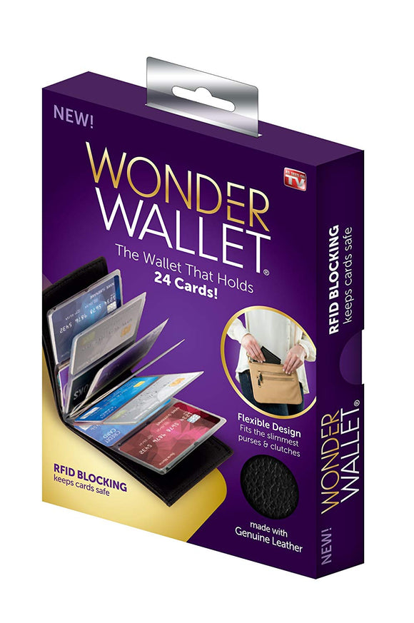 Wonder Wallet - Amazing Slim Genuine Leather Wallet RFID Protection, As Seen On TV Amazing Men and Women Slim Genuine Leather wonder Wow Wallet - Credit Card Protector - RFID Blocking Case