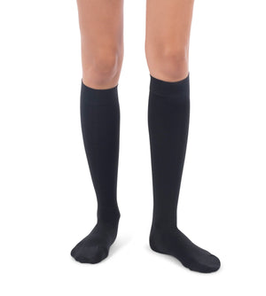 Front view of black surgical weight closed toe compression knee high stockings