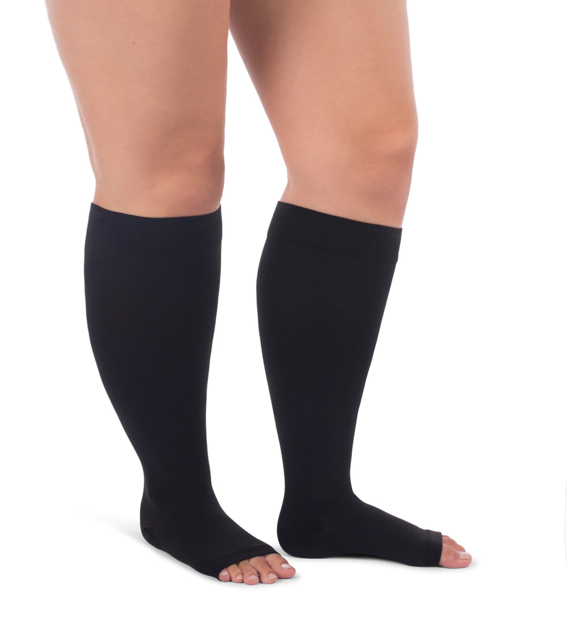 Knee High Compression Stockings, 20-30mmHg Surgical Weight Open Toe, Full Wide Calf Petite Short 223