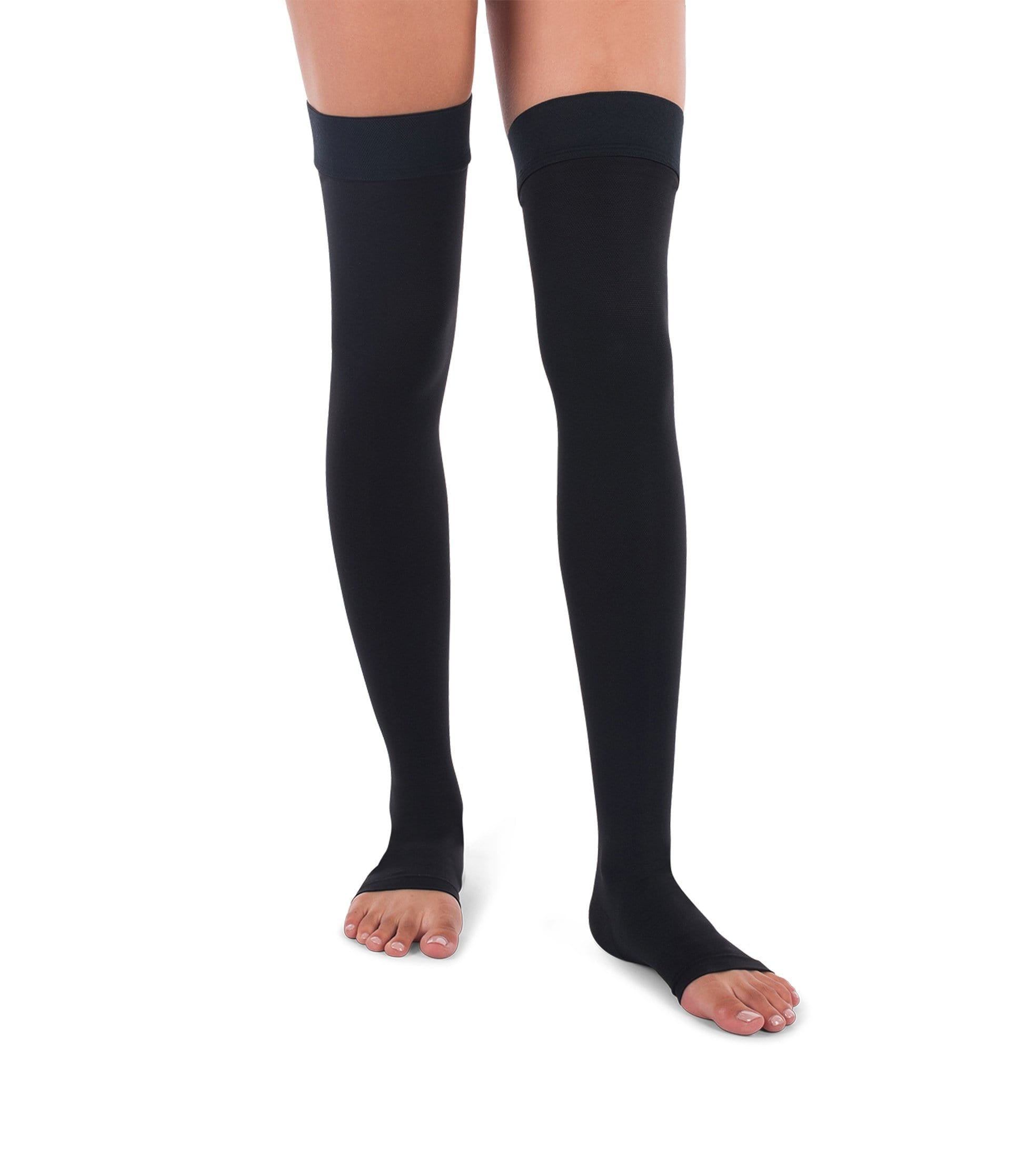 JOMI Thigh High Compression Stockings, 20-30mmHg Surgical Weight Open Toe 241 - Beige / Small