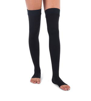 Black Surgical Weight, Open Toe High Stockings, 20-30mmHg