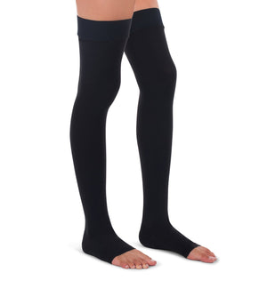 Compression Thigh High Stockings, 20-30mmHg Premiere Surgical Weight Open Toe - PETITE 265