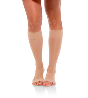 Compression Knee High Stockings, 15-20mmHg Sheer Open Toe 133