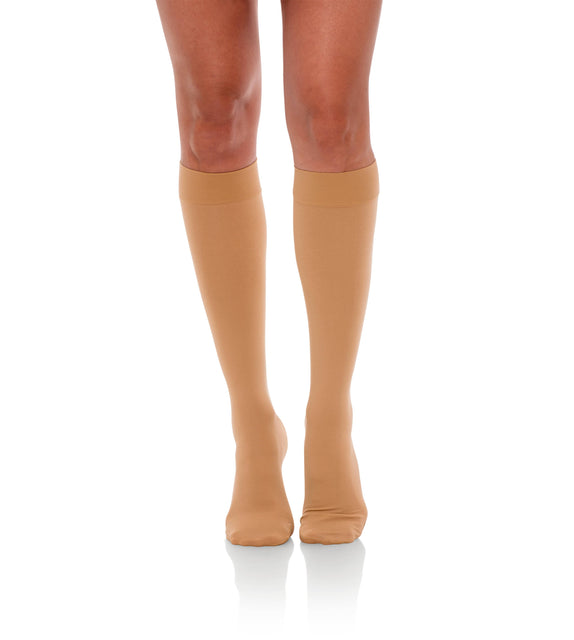 Knee High Compression Stockings, 15-20mmHg Opaque Closed Toe 130