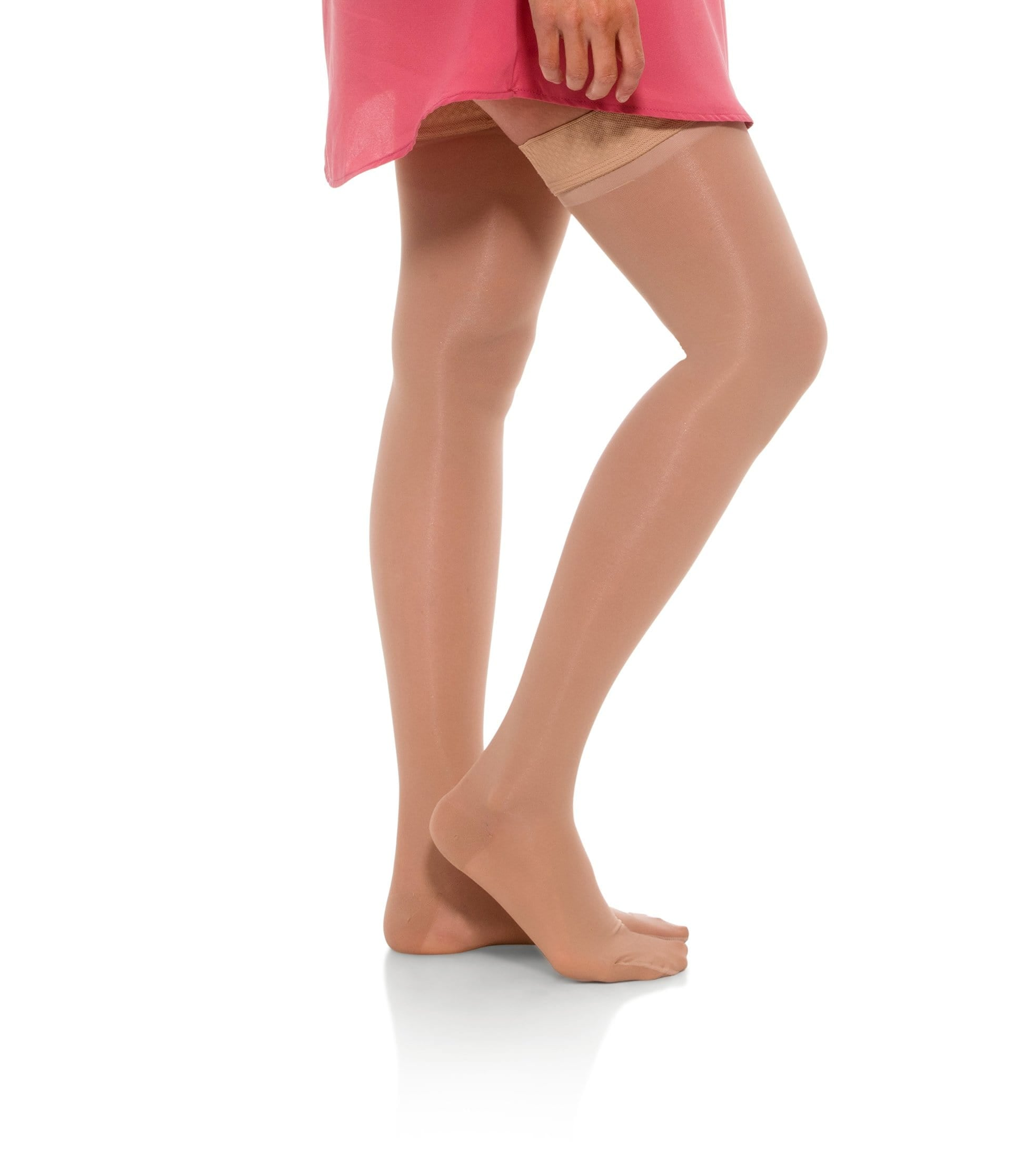 Thigh High Compression Stockings, 20-30mmHg Sheer Closed Toe 245