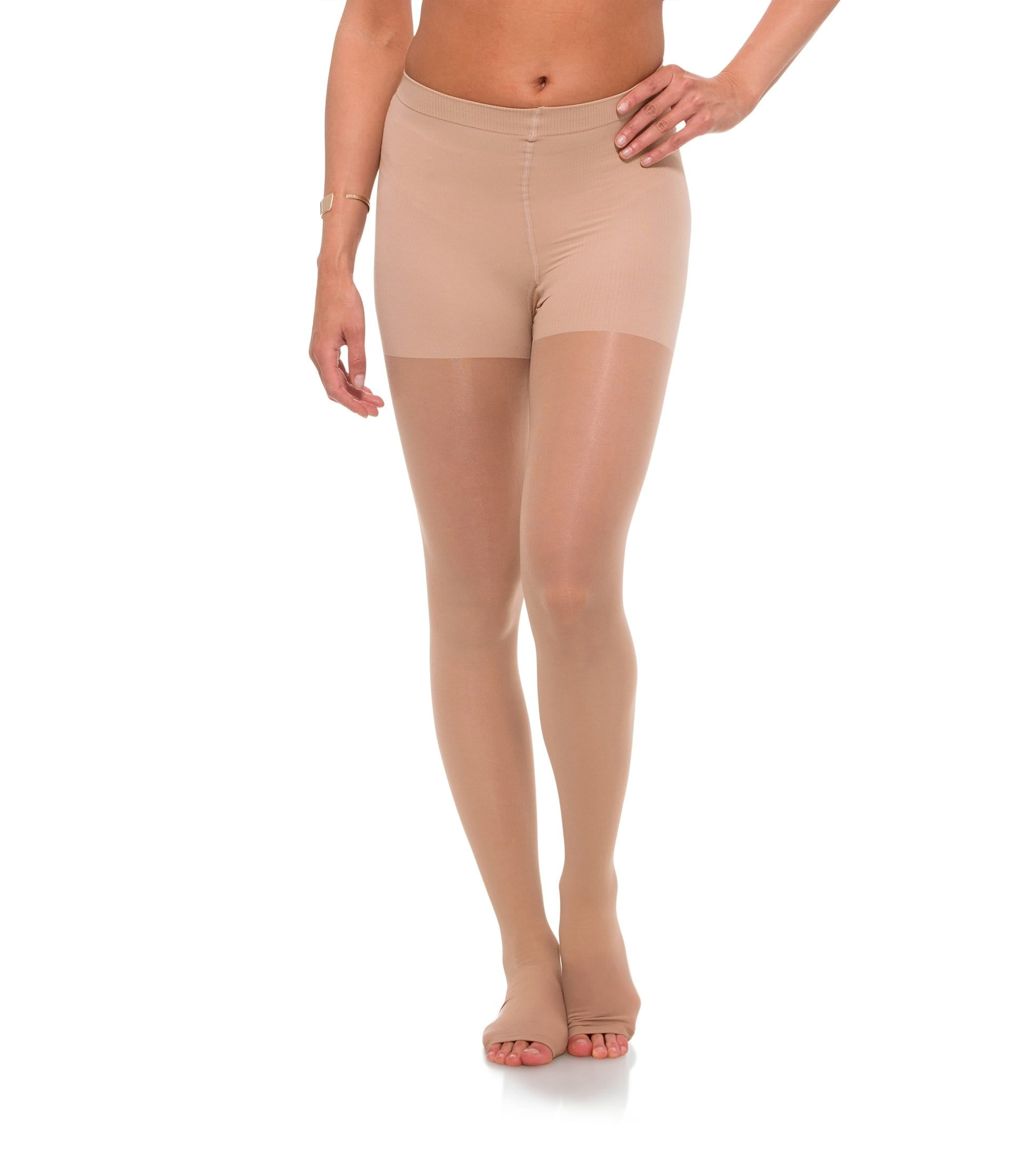 Womens Compression Pantyhose, 15-20mmHg Sheer Open Toe 145