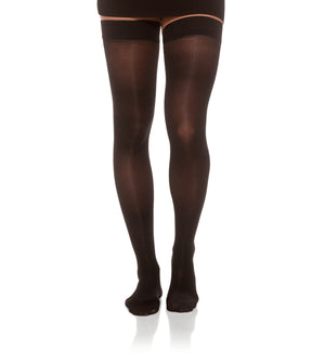 Black Sheer Compression Thigh High Stockings with Closed Toe, 20-30mmHg